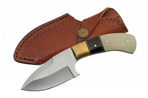 Hunting Knife | White Bone Black Horn Full Tang Skinner Blade + Leather Sheath