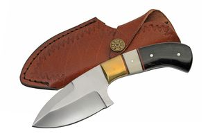 Hunting Knife | Black Horn White Bone Full Tang Skinner Blade + Leather Sheath