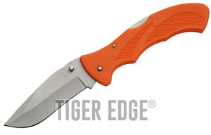 FOLDING POCKET KNIFE   5'' Closed Orange Large Low-Cost Lockback Utility Blade