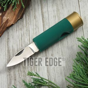 Folding Pocket Knife | Green 12 Gauge Shotgun Shell Bullet Novelty Folder
