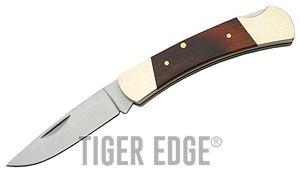 FOLDING POCKET KNIFE   3.5'' Brown Wood Brass Handle Lockback Stainless Blade