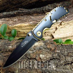 Wildlife Bear Black And Gold Folding Pocket Knife