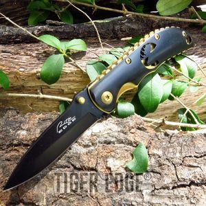 Wildlife Elk Black And Gold Folding Pocket Knife