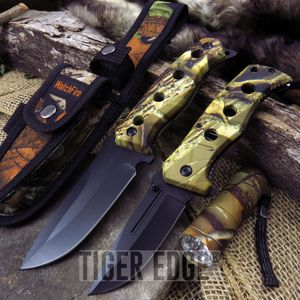 HUNTING KNIFE SET | 3 Pc. Survival Camo Folding Blade - Fixed Blade - LED Light