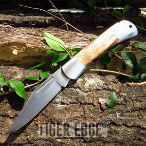 Folding Pocket Knife | Burl Wood Stainless Steel Blade Lockback Hunting Work