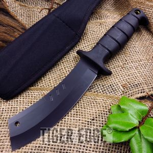 Fixed Blade Hunting Knife Black Cleaver Tactical Zombie Rubber Handle 211224