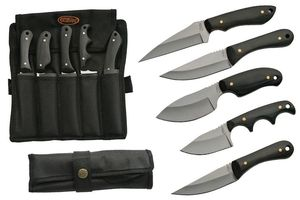 FIXED-BLADE HUNTING KNIFE SET 5 Piece Skinner Stainless Steel Black Wood w/ Case
