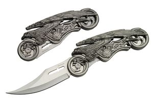 Folding Pocket Knife | Pewter Eagle Motorcycle Silver Fantasy Blade Gift