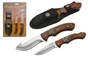 Fixed Blade Hunting Knife Set 2-Piece Wood Guthook Skinning Blade Gift 211366