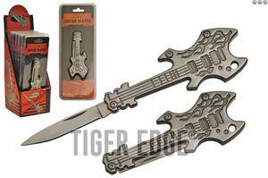 Mini Electric Guitar Keychain Folding Knife Pop Set | 6 Pieces Metal + Display