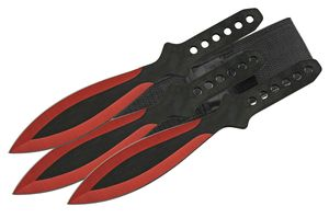 Throwing Knife Set | 3-Pc. Black Red Blade Stainless Steel Full Tang 9