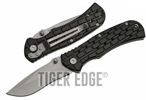 Folding Pocket Knife   Silver Blade Black Handle Military Tactical EDC