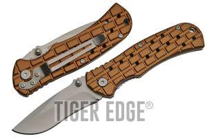 Folding Pocket Knife   Silver Blade Tan Handle Military Tactical EDC 211419