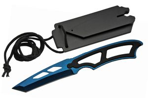 Neck Knife Rite Edge Low Cost Blue Tactical Tanto Blade Full Tang + Hard Sheath