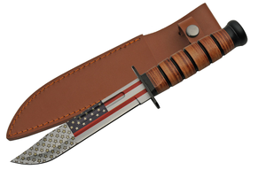 Fixed Blade Military Combat Knife | American Flag USA Blade Gift Father's 211461
