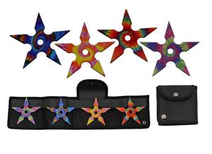 Throwing Star Set | Tie Dye Ninja 4-Piece Rainbow Pack Metal W/ Case 211465