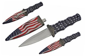Dagger | American Flag Stars And Stripes Boot Knife Stainless Steel 3.5