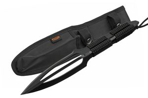 Combat Knife | Triple Edge Spear Point Blade Black Tactical Paracord + Sheath