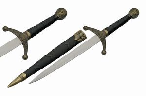 Dagger | Medieval Stainless Steel Spearhead Blade Gold Celtic Knot + Sheath