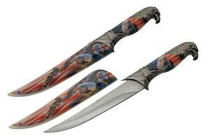 Fixed-Blade Knife | USA American Flag Bald Eagle Dagger
