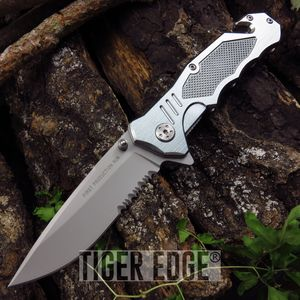 SPRING ASSIST FOLDING POCKET KNIFE Gray Heavy Duty Serrated Tactical Rescue EDC