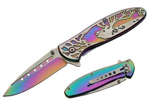 Spring-Assist Folding Knife | Rainbow Deer Embossed Titanium Oxide Blade/Handle