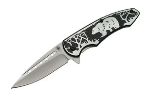 Spring-Assist Folding Knife | Black Bear Embossed Stainless Steel Blade/Handle