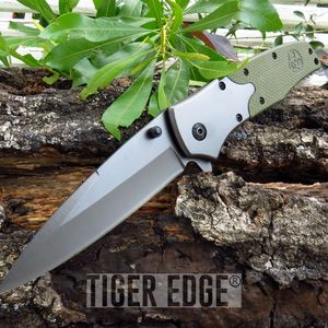 Grey And Green G10 Handle Tactical Biohazard Folding Pocket Knife