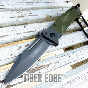 Spring-Assist Folding Pocket Knife | Army Green G10 Military Tactical Gunmetal