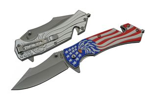 Spring-Assist Folding Knife | Bald Eagle American Flag Tactical Rescue EDC