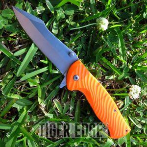 Spring Assist Folding Pocket Knife Hi-Visibility Orange Tactical Hunting Fishing