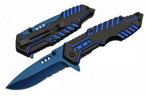 Spring-Assisted Folding Pocket Knife   Black Blue Serrated Blade Tech Tactical