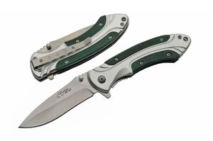 Spring-Assist Folding Pocket Knife | Green Wood Silver Steel Blade Tactical EDC