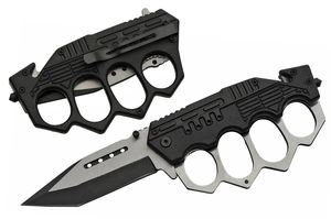 Spring-Assisted Folding Knife Tanto Blade Black Trench Knife Knuckle Guard