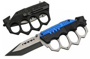 Spring-Assisted Folding Knife Tanto Blade Black Blue Trench Knife Knuckle Guard
