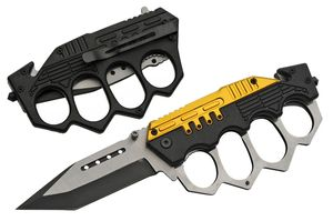 Spring-Assisted Folding Knife Tanto Blade Black Gold Trench Knife Knuckle Guard