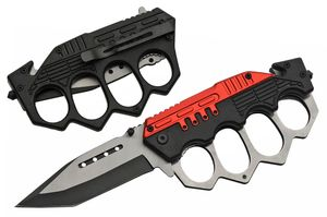 Spring-Assisted Folding Knife Tanto Blade Black Red Trench Knife Knuckle Guard