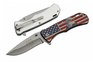 Spring-Assist Folding Knife | Patriotic God Bless America Usa Bald Eagle Silver