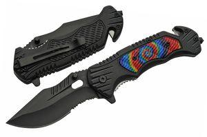 Spring-Assist Folding Knife | Black Blade Rescue Tie-Dye Cutter Glass Breaker B