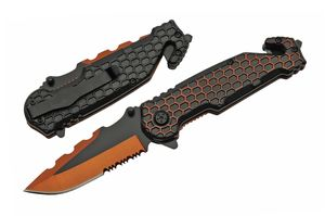 Spring-Assist Folding Knife | Tactical Rescue Orange Black Honeycomb Edc