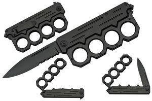 Brass Knuckle Knife | Black Folding Knife Paperweight Self-Defense 300492-Bk
