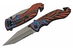 Spring-Assist Folding Knife | Blue Purple Red Striped Wood Handle EDC 300493