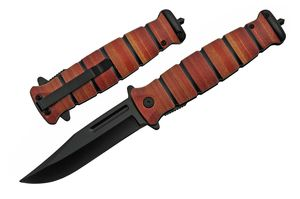 Spring-Assist Folding Knife | Stacked-Leather Print Military-Style Handle EDC