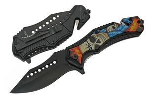Spring-Assist Folding Knife | Blue Sugar Skull Rescue Black Blade EDC Tactical