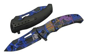 Spring-Assist Folding Knife | Black Blue Cat Demon Skull Pocket EDC 300503-BL