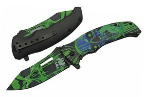 Spring-Assist Folding Knife | Black Green Cat Demon Skull Pocket EDC 300503-GN