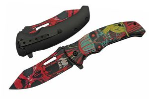 Spring-Assist Folding Knife | Black Red Cat Demon Skull Pocket EDC 300503-RD