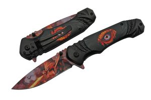 Spring-Assist Folding Knife | Dragon's Eye Red Fire Blade Black Fantasy 300504