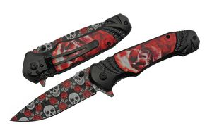 Spring-Assist Folding Knife | Rose Skull Red Black Folder Pattern Blade 300505
