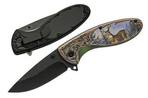 Spring-Assist Folding Knife | Rite Edge Buck Deer Hunter Stainless Steel Blade